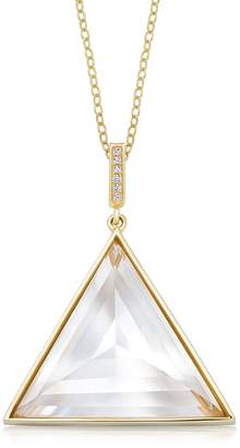 clear Rock + Raw Quartz Ultimate Guardian Pendant With Diamond Gold Large