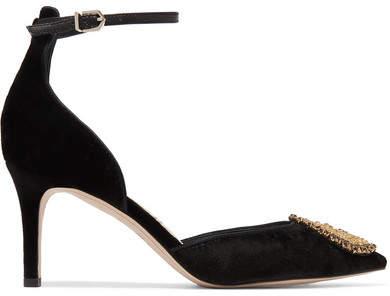 Sam Edelman - Tabby Embellished Velvet Pumps - Black