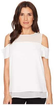 Calvin Klein Short Sleeve Cold Shoulder Blouse Women's Clothing
