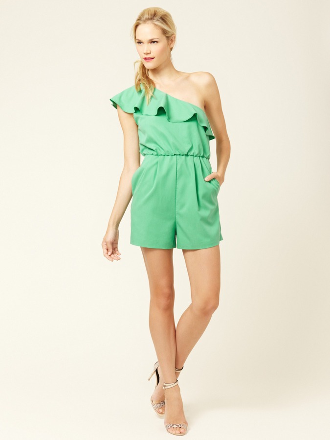Alice + Olivia Stella One-Shoulder Silk Ruffle Romper