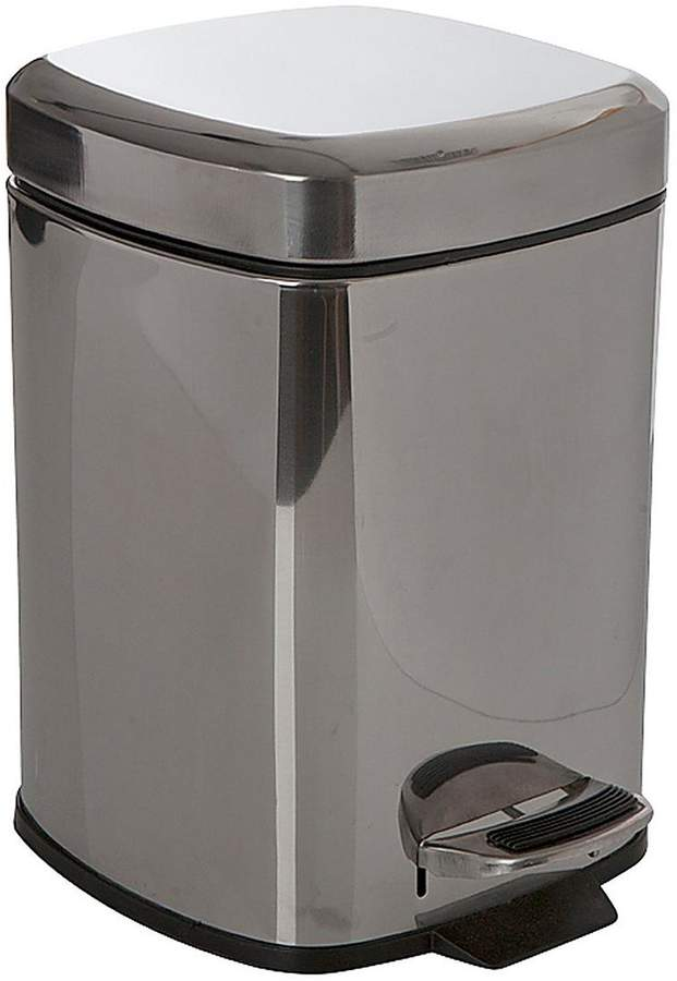 6-Litre Square Pedal Bin - Stainless Steel