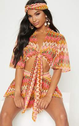 PrettyLittleThing Burnt Orange Chevron Tie Front Short Sleeve Crop Top