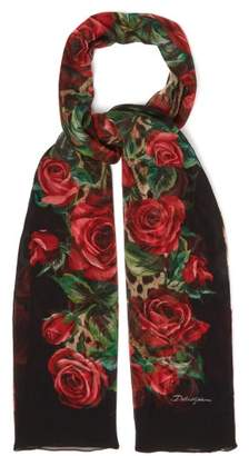 Dolce & Gabbana Floral Leopard Print Scarf - Womens - Red