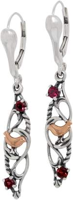 Carolyn Pollack Sterling Silver Rhodolite Garnet Bird Earrings