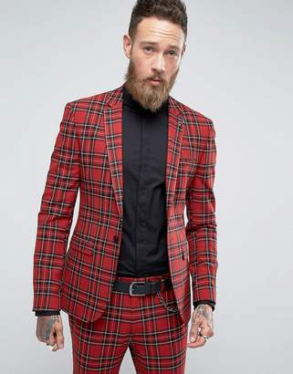 Asos Design Super Skinny Suit Jacket In Tartan