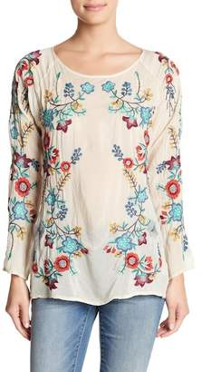 Johnny Was Embroidered 3/4 Sleeve Top