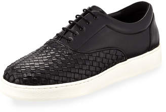 Jared Lang Woven Leather Oxford Sneaker with Extralight® Rubber Sole, Black