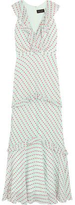 Saloni - Rita Ruffled Fil Coupé Georgette Maxi Dress - Mint $820 thestylecure.com