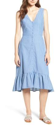 Lost + Wander Dulce Stripe Ruffle Midi Dress