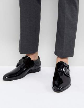 Zign Shoes Patent Monk Shoes In Black
