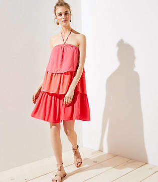 LOFT Petite Tiered Halter Dress