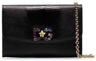 Dolce & Gabbana black snake print rainbow gem leather crossbody bag