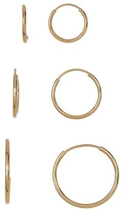 Candela 14K Yellow Gold Endless 3-Pair Hoop Earrings Set