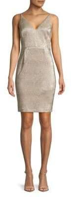 Calvin Klein Metallic V-Neck Sheath Dress