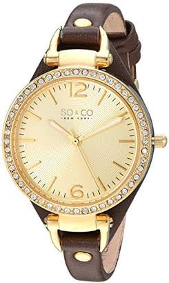 SO&CO New York Women's 5061.2 SoHo Quartz Gold Tone Case Brown Slim Leather Strap Watch
