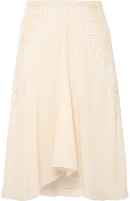 Chloé Ruched Crocheted Lace-paneled Silk Crepe De Chine Skirt - Cream