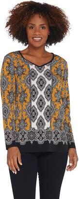 Susan Graver Printed Liquid Knit Long-Sleeve Tunic