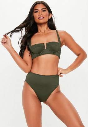 Missguided Khaki Rib Mix And Match Underwired Open Cup Bikini Top