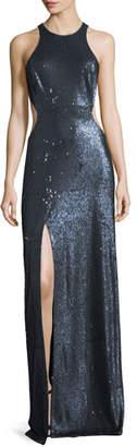 Halston Cutout Sequin Column Gown