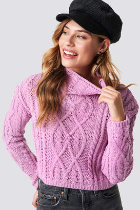 Glamorous Cable Knitted Jumper Pink