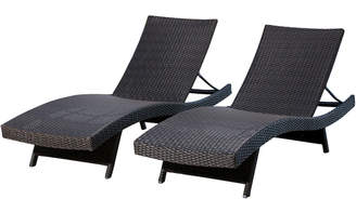 Abbyson Living Set Of 2 Redondo Outdoor Espresso Adjustable Wicker Chaise