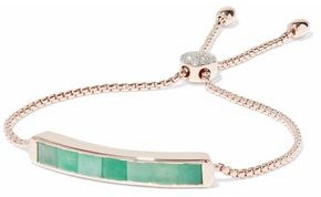 Monica Vinader Baja Rose Gold-Plated Sterling Silver Emerald And Diamond Bracelet