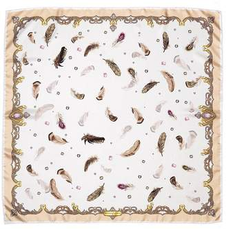 Aspinal of London Feather Silk Scarf In Nude