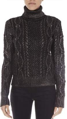 Saint Laurent Black/silver Twisted Wool Knitwear