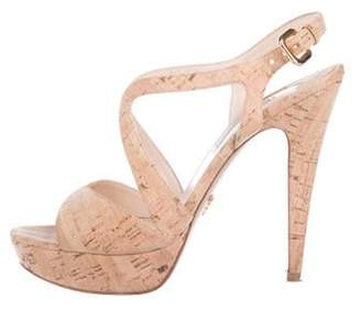 Prada Cork Platform Sandals Tan Cork Platform Sandals