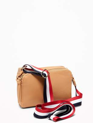 Old Navy Faux-Leather Wide-Strap Camera Bag for Women