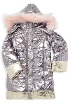 Imoga Little Girl's & Girl's Vicky Faux-Fur Trimmed Quilted Down Coat