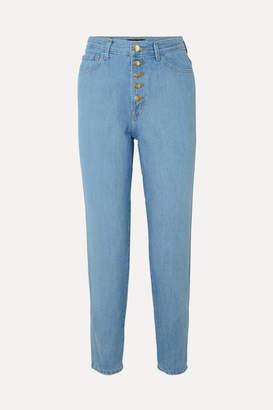 J Brand Heather Cropped High-rise Straight-leg Jeans - Blue