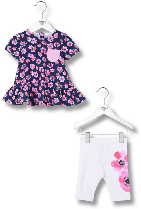 Armani Junior Flower Print Trousers And T-Shirt Set