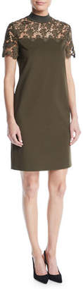 Escada Sport Mock-Neck Lace-Guipure Crepe Dress