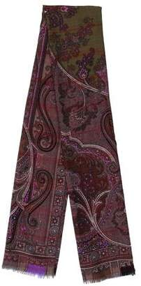 Etro Scroll & Floral Print Wool-Blend Scarf