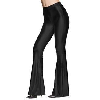 ab04400bd02fe OwlFay Women Metallic Shiny Flare Pants Wide Leg Long Leggings High Waisted Slim  Fit Bell Bottoms