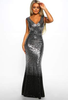 Pink Boutique Met Ball Ready Silver Sequin Ombre Maxi Dress