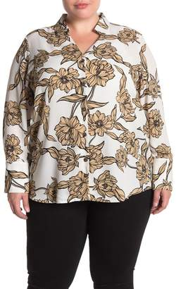 14th & Union Floral Print Button Front Tunic Shirt (Plus Size)