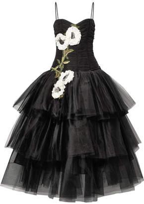 Marchesa Appliquéd Embellished Velvet-trimmed Tulle Gown - Black