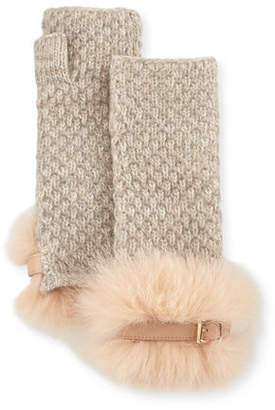 Portolano Cashmere Fingerless Gloves w/ Fur & Buckle Cuffs