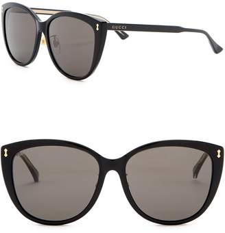 Gucci 58mm Rounded Cat Eye Sunglasses