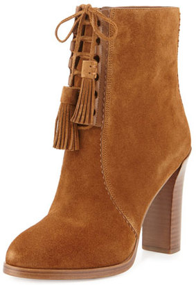 Michael Kors Odile Suede Lace-Up Bootie, Luggage $495 thestylecure.com