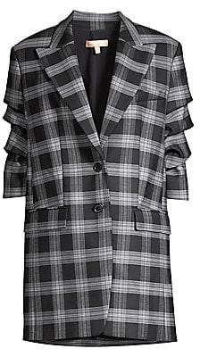 Michael Kors Women's Long Plaid Single-Breasted Tiered-Sleeve Blazer - Size 0