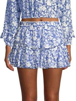 LoveShackFancy Floral Ruffled Mini Skirt