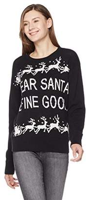 Ugly Fairisle Unisex Adult Jacquard Dear Santa Define Good Crewneck Christmas Sweater XXL Black/White