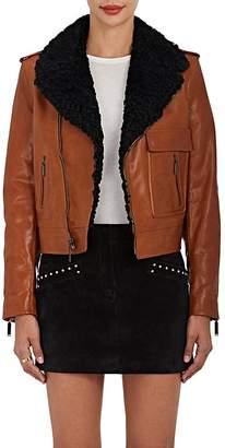 Saint Laurent Women's Shearling-Lined Leather Motorcycle Jacket