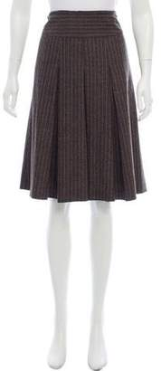 Alberta Ferretti Virgin Wool Pleated Skirt
