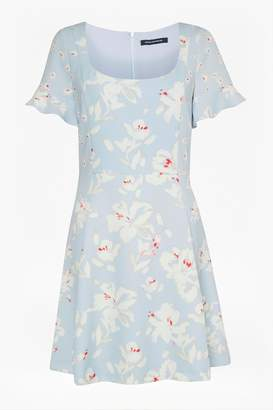 French Connection Alba Stretch Scoop Neck Fluted Dress