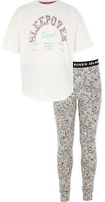 River Island Girls Grey 'sleepover' pyjama leggings set