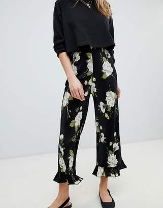 Miss Selfridge Floral Printed Plisse Ruffle Hem PANTS